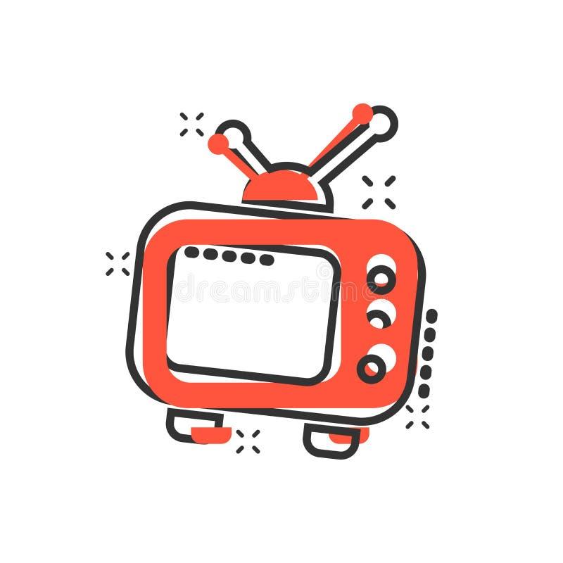 Vector el icono del monitor de la televisión de la historieta en estilo cómico Pantalla de la TV ilustración del vector