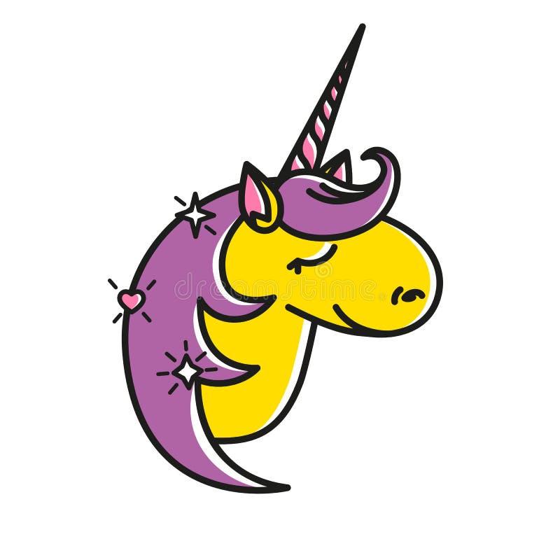 Vector el icono del unicornio lindo con una sonrisa, ojos soñadores, cuerno rosado Etiqueta engomada principal del caballo del re ilustración del vector
