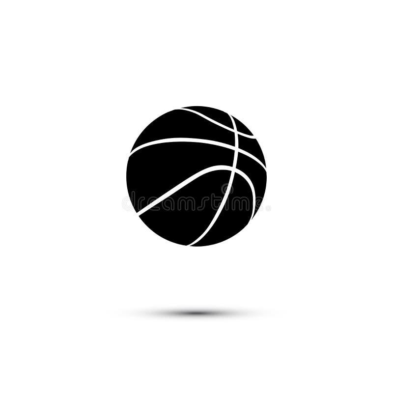 Vector el icono negro de la bola del baloncesto aislado en el fondo blanco stock de ilustración