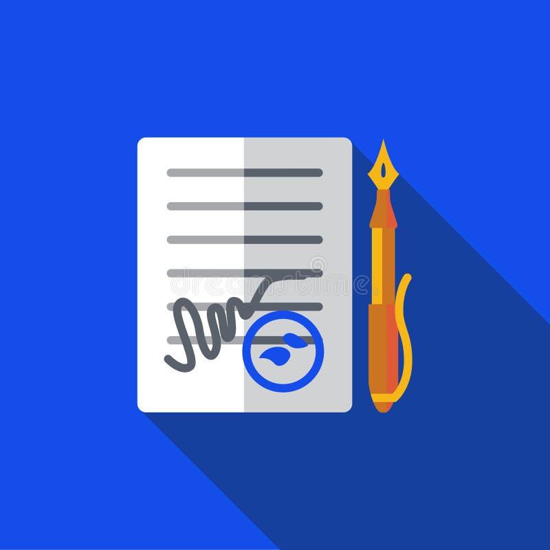 Vector el icono o el ejemplo con el contrato y la pluma en estilo plano del diseño libre illustration