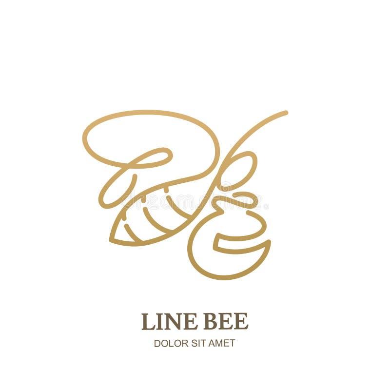 Vector el icono o el emblema del logotipo con el pote de oro de la abeja y de la miel Modelo abstracto del diseño Ejemplo de la a libre illustration