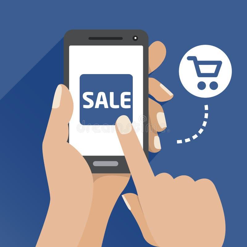 Vector el icono plano del ejemplo con la mano y el teléfono móvil con un smartphone stock de ilustración