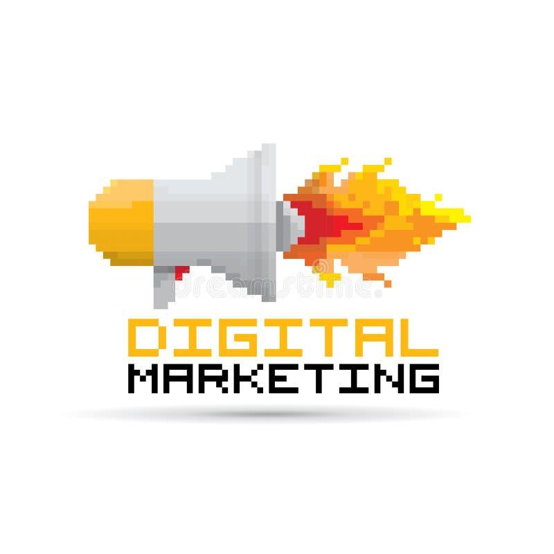 Vector el icono plano del megáfono del arte del pixel con el fuego ilustración del vector