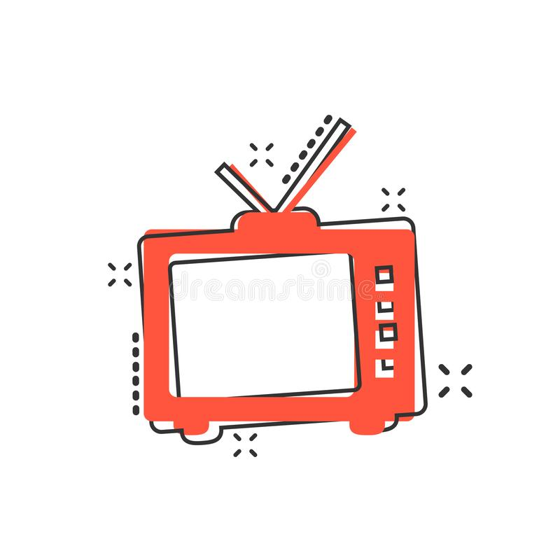 Vector el icono retro de la pantalla de la historieta TV en estilo cómico Televisi viejo stock de ilustración