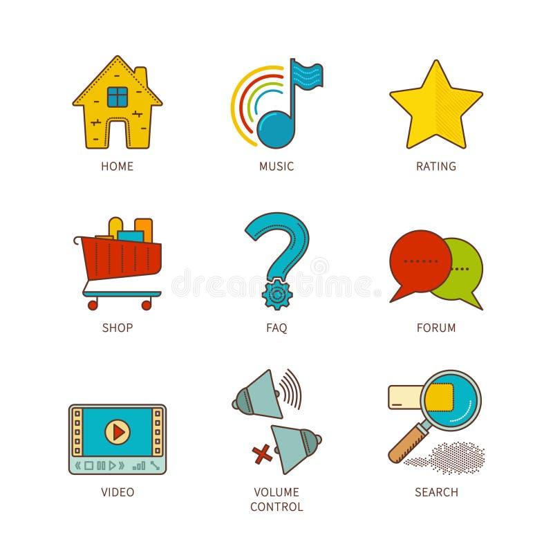 Vector el iconset común plano de los elementos del sitio web del lineart mínimo libre illustration