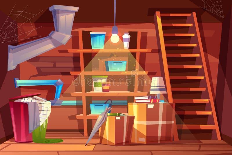 Vector el interior del sótano, almacenamiento de la historieta en el sótano ilustración del vector