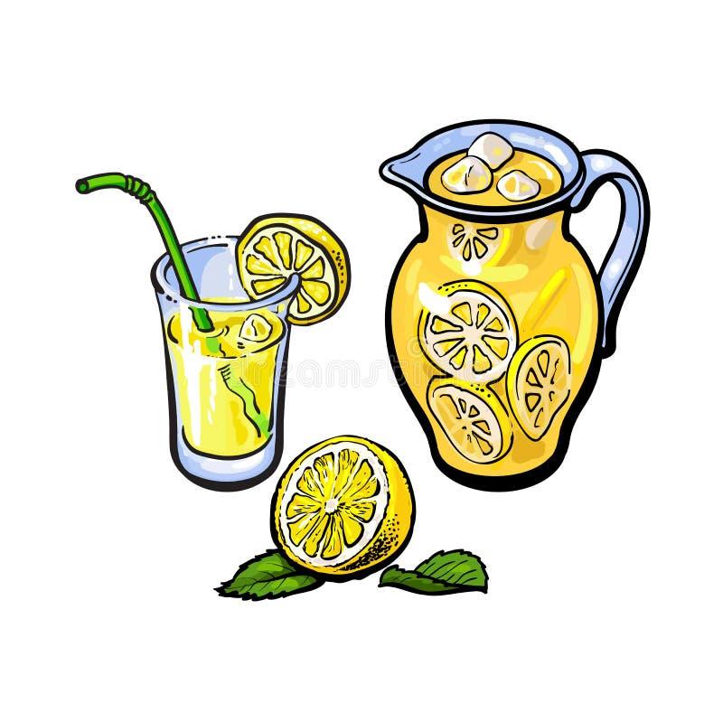 Vector el jarro de la limonada, vidrio de jugo de limón, paja ilustración del vector