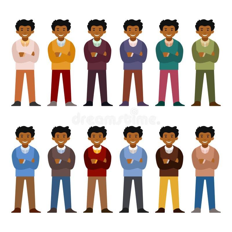 Vector el juego de caracteres africano del oficinista en estilo plano ilustración del vector