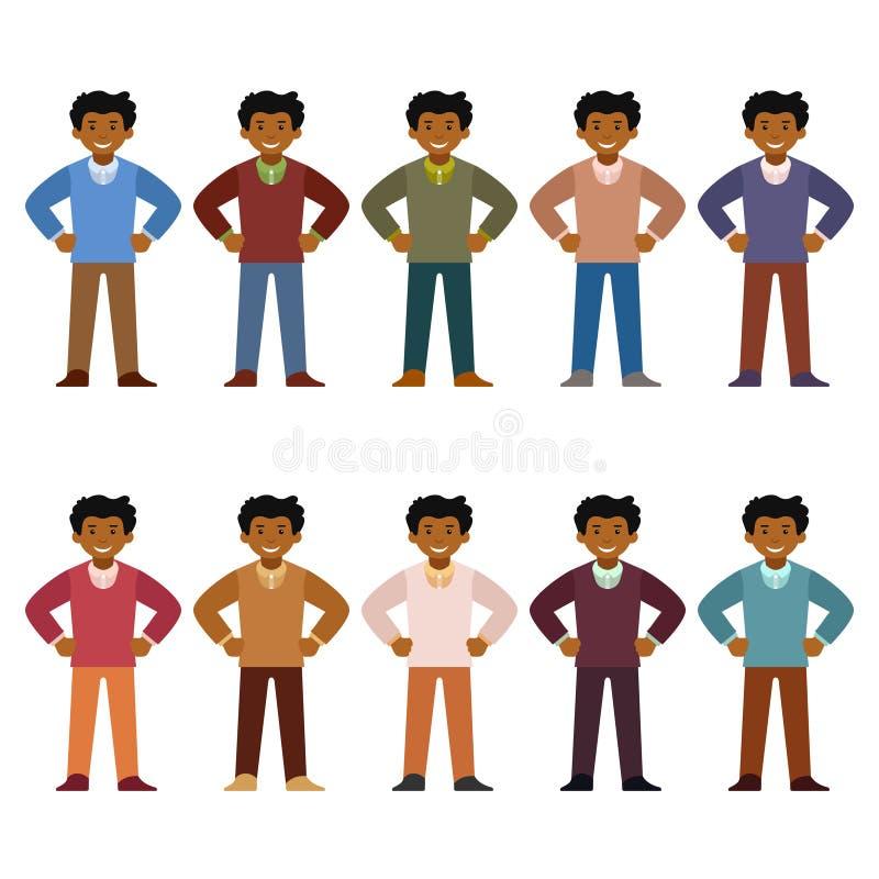 Vector el juego de caracteres africano del oficinista en estilo plano stock de ilustración