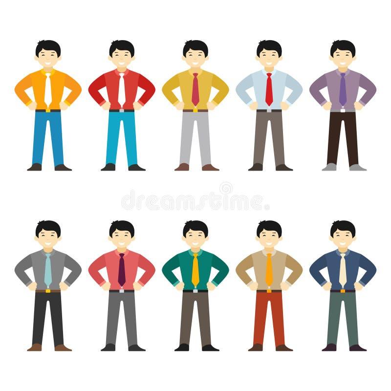 Vector el juego de caracteres asiático del oficinista en estilo plano ilustración del vector