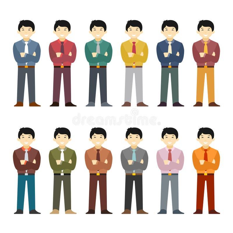 Vector el juego de caracteres asiático del oficinista en estilo plano stock de ilustración