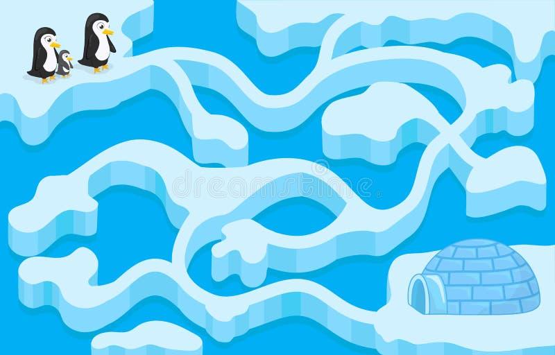 Vector el juego del laberinto con el pingüino que encuentra la casa ilustración del vector