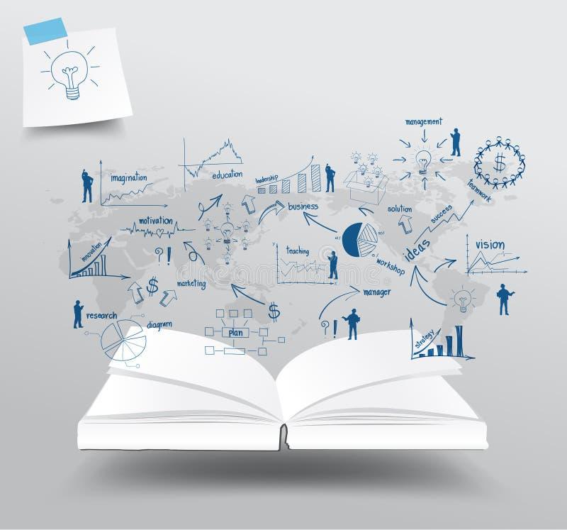 Vector el libro con las cartas del dibujo y representa negocio gráficamente stock de ilustración