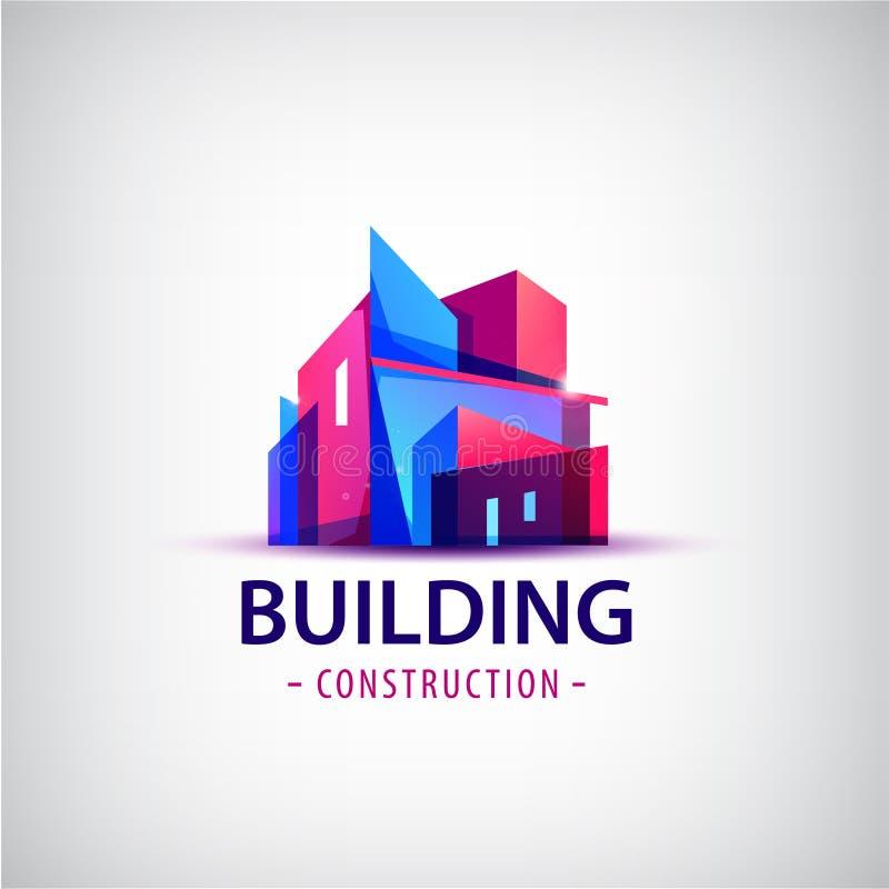 Vector el logotipo colorido del edificio abstracto, icono aislado ilustración del vector