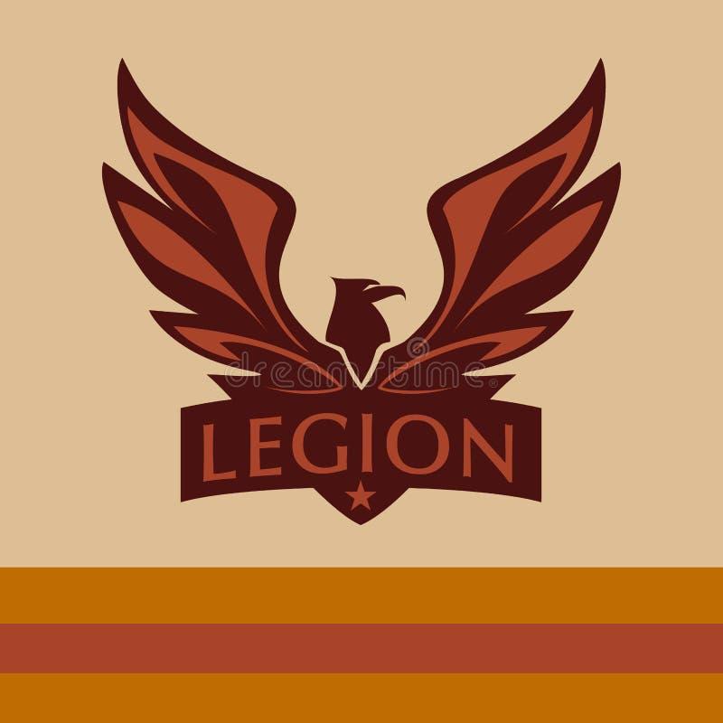 Vector el logotipo con una imagen de un águila legión ilustración del vector