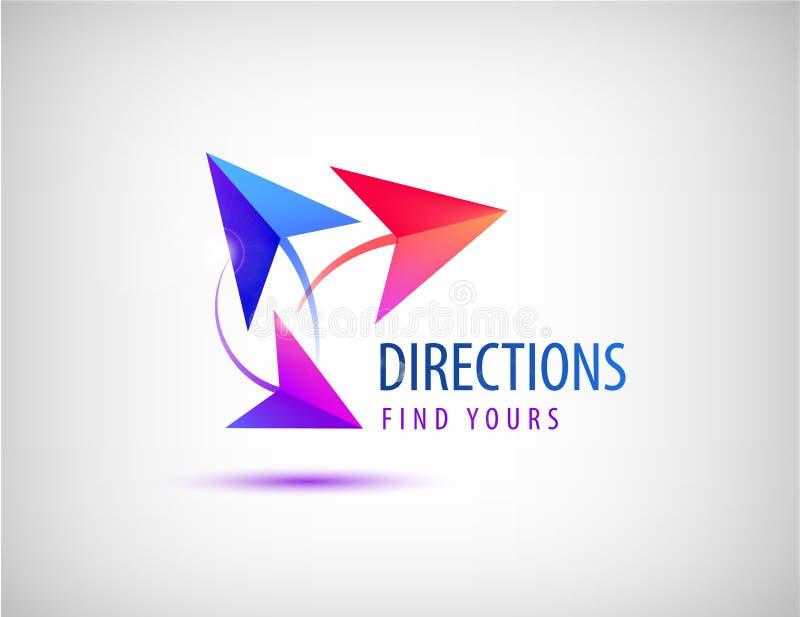 Vector el logotipo de la dirección, concepto de las maneras de las flechas 3 Extracto ilustración del vector