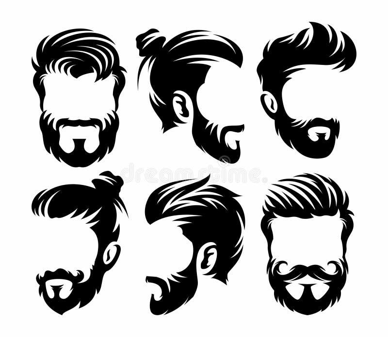 Vector el logotipo de la peluquería de caballeros del peinado del vintage para su diseño ilustración del vector