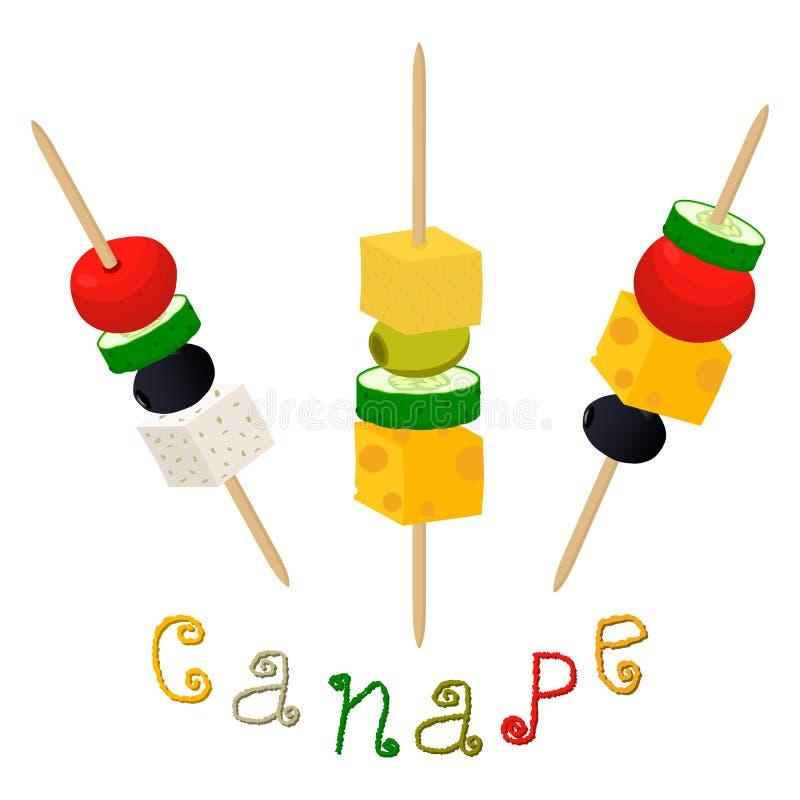 Vector el logotipo del ejemplo para los canapes coloridos maduros con las aceitunas de la baya stock de ilustración