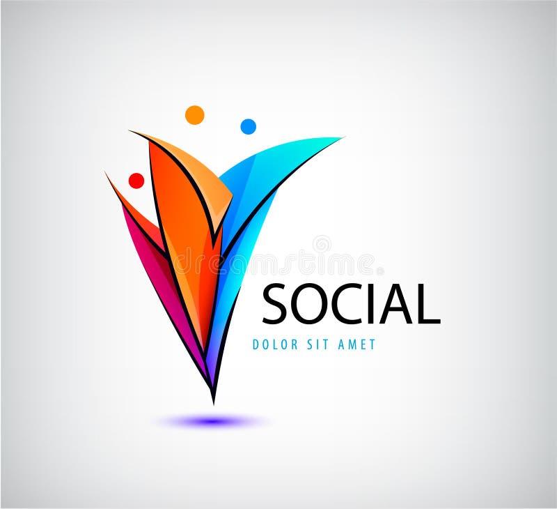 Vector el logotipo del grupo de los hombres, ser humano, familia, icono del trabajo en equipo La comunidad, gente firma adentro e ilustración del vector