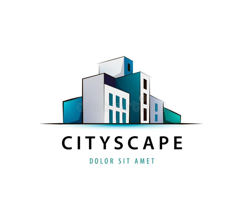 Vector el logotipo del scape de la ciudad 3d, arquitectura, estructura, construyendo el icono stock de ilustración