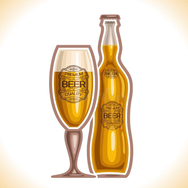 Vector el logotipo para la cerveza de cristal de la taza y de la botella ilustración del vector