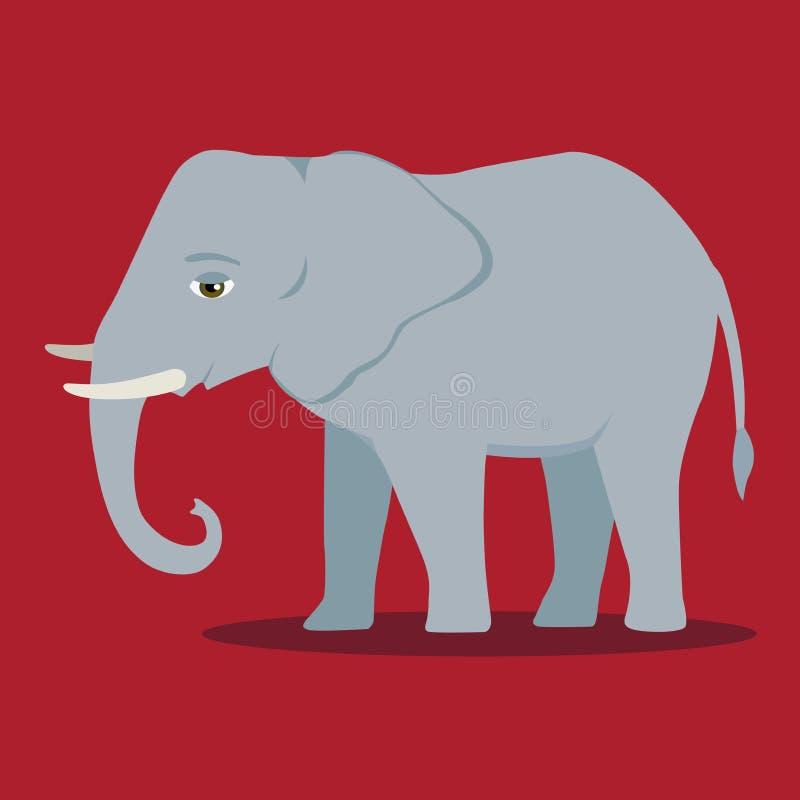 Vector el mamífero grande del elefante del negro del icono de la silueta de la historieta stock de ilustración