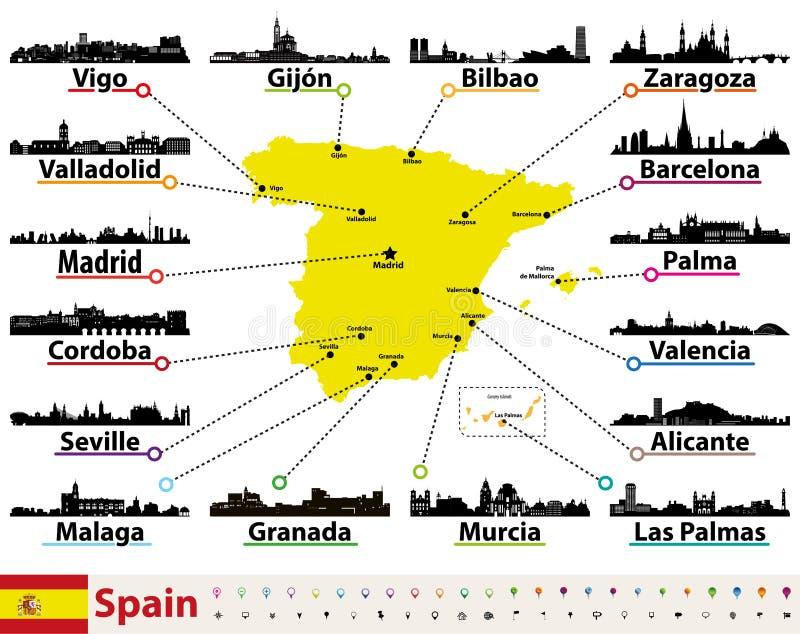 Vector el mapa de España con las siluetas de los horizontes de las ciudades más grandes libre illustration