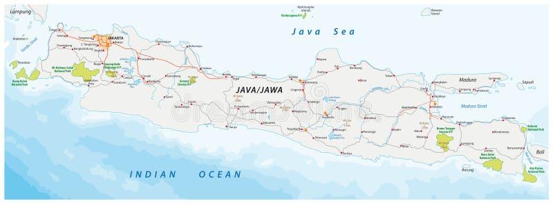 Vector el mapa del camino y del parque nacional de la isla indonesia Java libre illustration