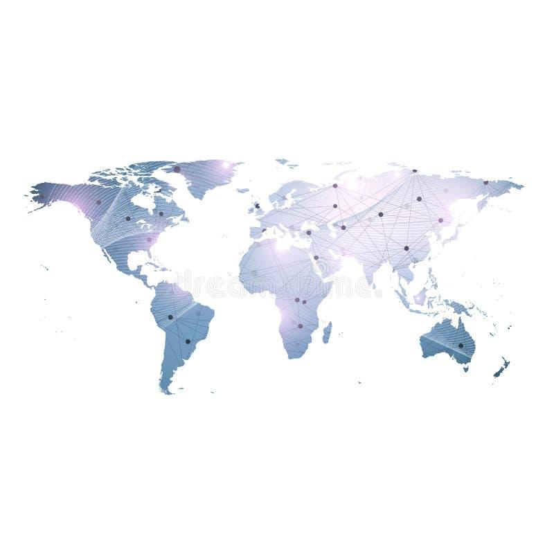 Vector el mapa del mundo de la plantilla con concepto global del establecimiento de una red de la tecnología Conexiones de red gl ilustración del vector