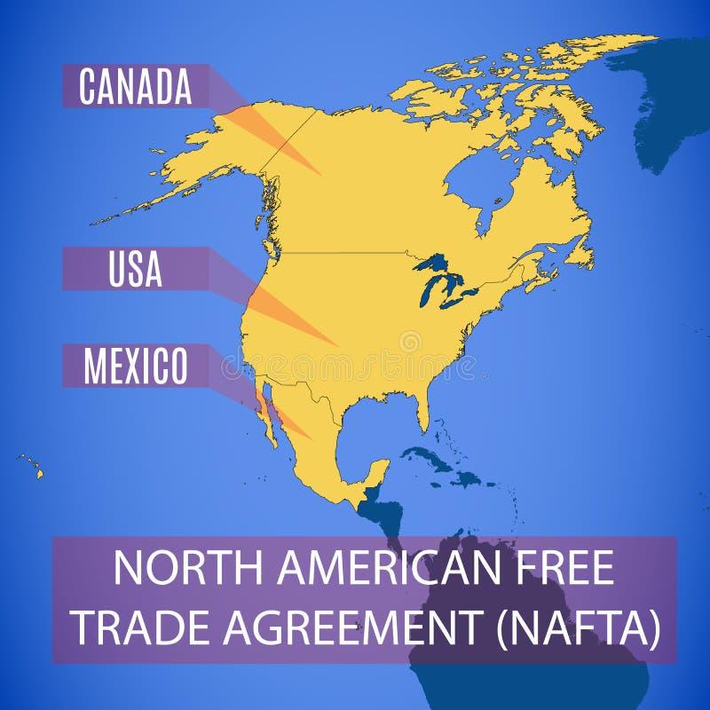 Vector el mapa del NAFTA norteamericano del acuerdo de libre comercio stock de ilustración
