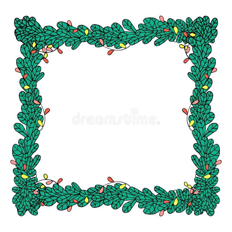 Vector el marco de la Navidad con las ramas del abeto y el estilo dibujado de las guirnaldas a disposición ilustración del vector