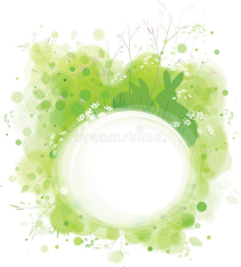 Vector el marco de la primavera, conejos en la hierba, fondo verde de la naturaleza stock de ilustración