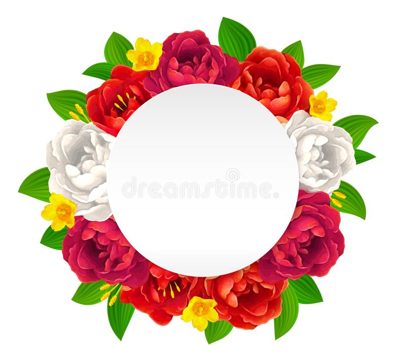 Vector el marco de las flores rojas, rosadas y blancas con la etiqueta de papel redonda vacía para sus saludos ilustración del vector