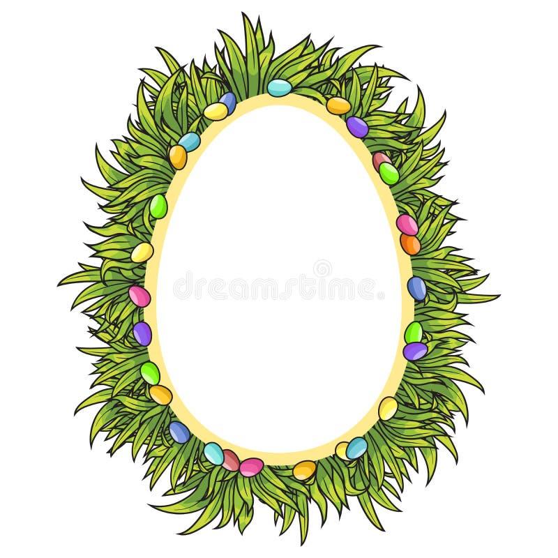 Vector el marco de los huevos de Pascua y de la hierba verde fotografía de archivo