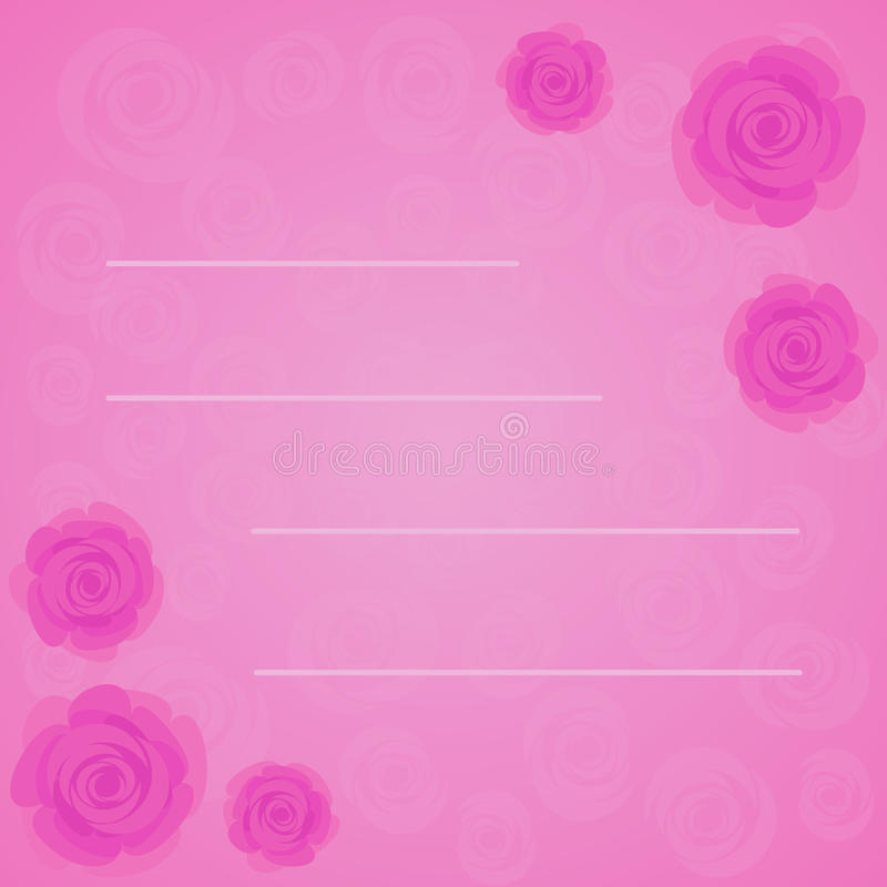 Vector el marco de rosas rosadas hermosas en fondo del rosa de la pendiente con la silueta rosada transparente de las rosas Estil ilustración del vector