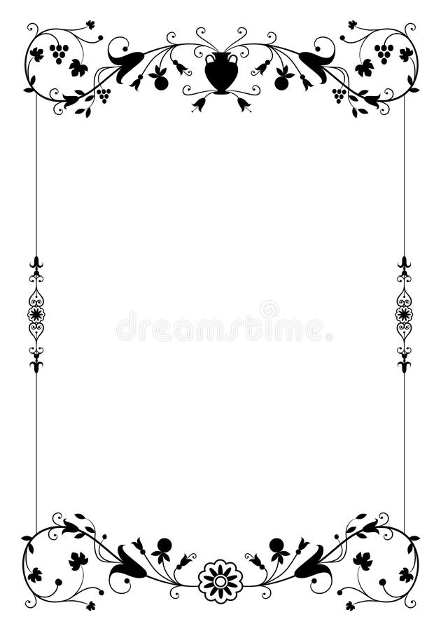 Vector el marco decorativo en estilo del vintage con los elementos ornamentales florales libre illustration