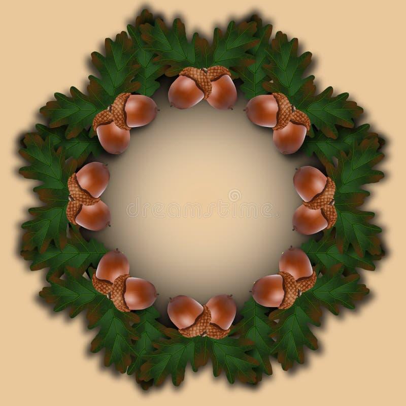 Vector el marco del día de fiesta del otoño con las bellotas y las hojas stock de ilustración