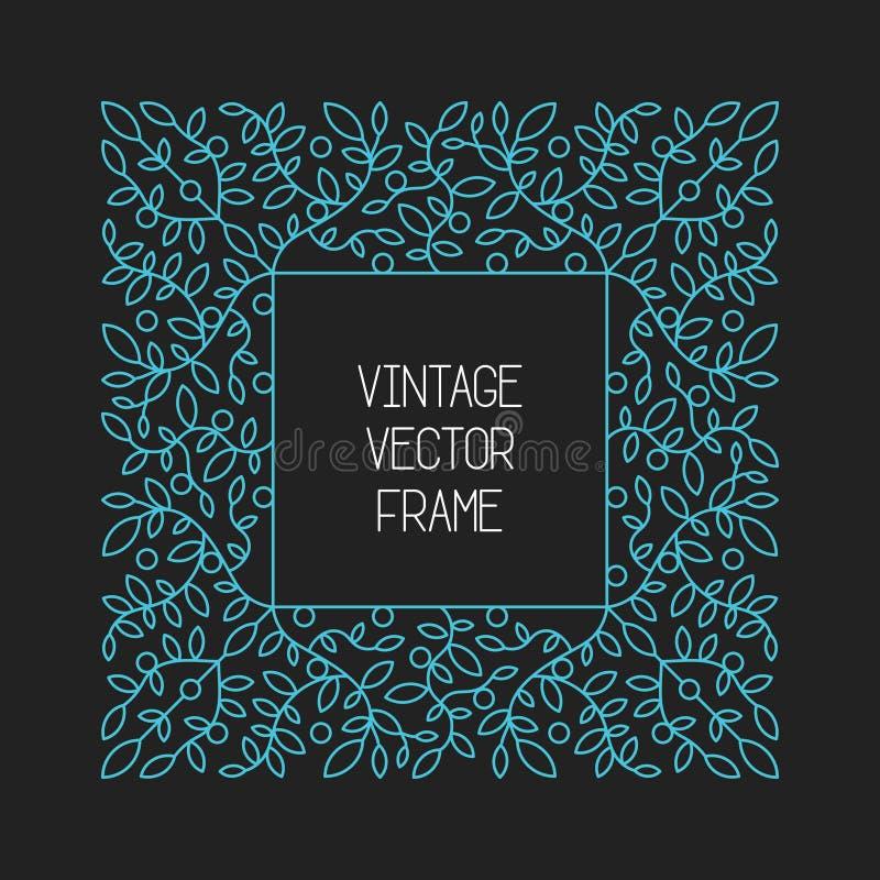 Vector el marco floral del vintage en fondo negro en la mono línea estilo fina stock de ilustración
