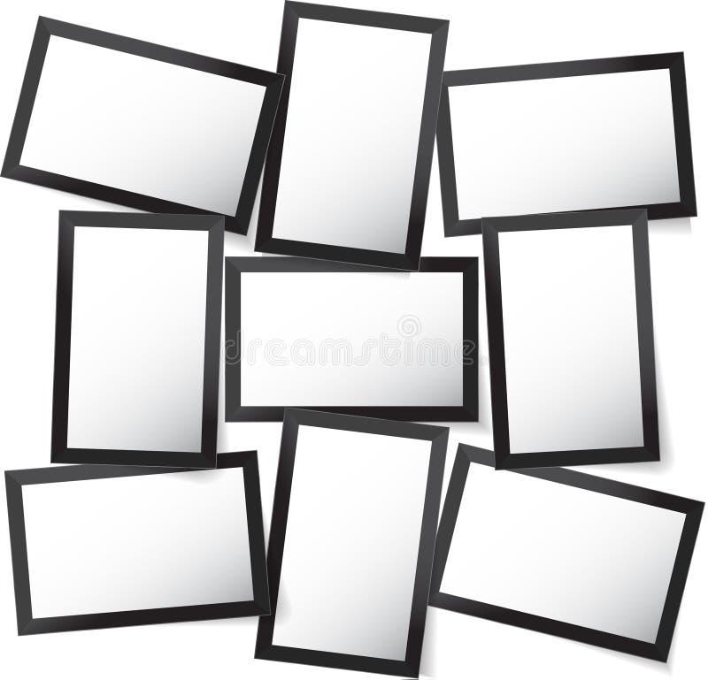Vector el marco para las fotos y las imágenes, collage de la foto, rompecabezas de la foto Presentación de marcado en caliente de ilustración del vector