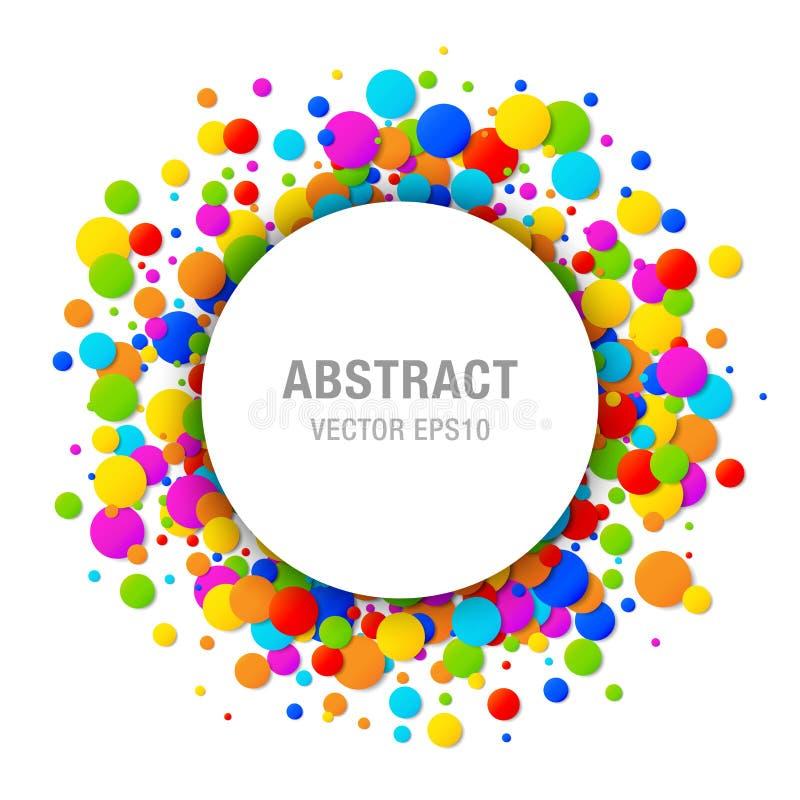 Vector el marco redondo de los papeles del arco iris de colores del círculo del confeti brillante colorido del cumpleaños aislado ilustración del vector