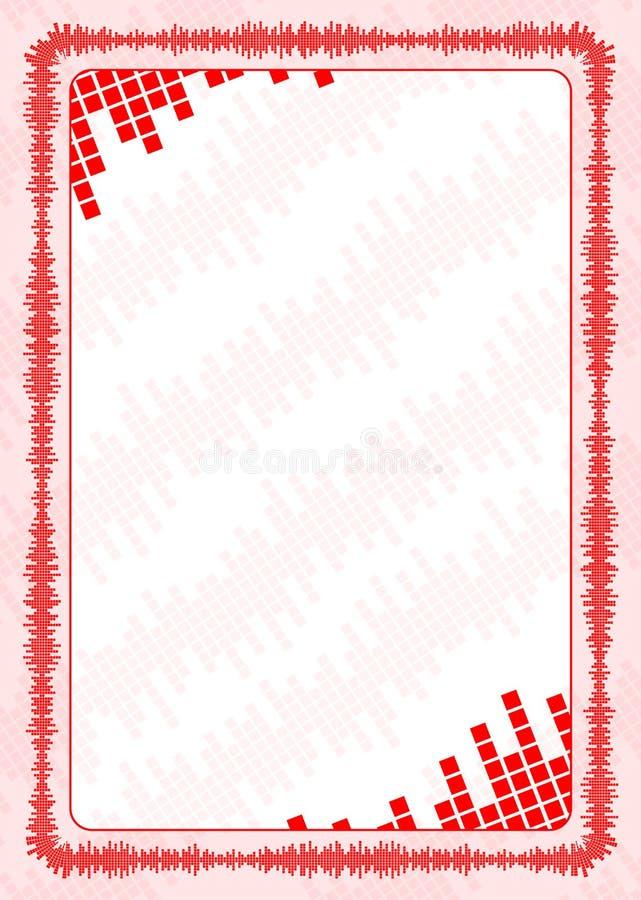 Vector el marco y la frontera con los niveles de volumen rojos para el diploma, certificado ilustración del vector