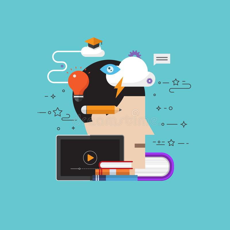 Vector el medios concepto del conocimiento del cerebro de la escuela creativa de la educación stock de ilustración