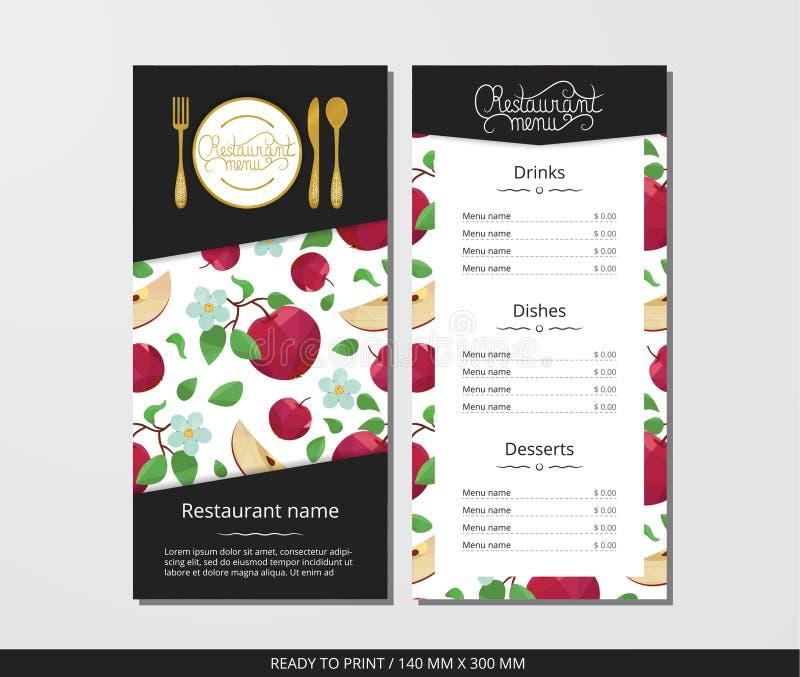 Vector el menú del restaurante de la plantilla con los cubiertos del oro y la manzana con la flor ilustración del vector