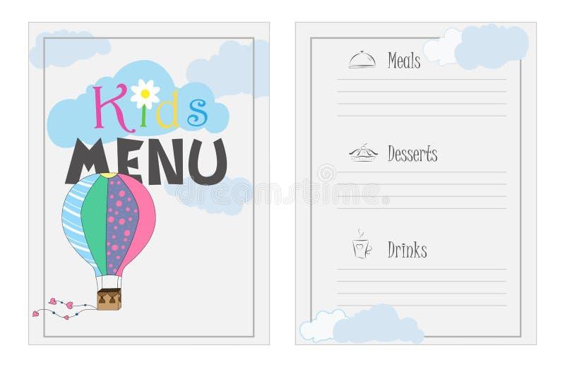 Vector el menú para un café, partido del diseño Diseño de menú del ` s de los niños Menú brillante, colorido para un café Modelo  stock de ilustración