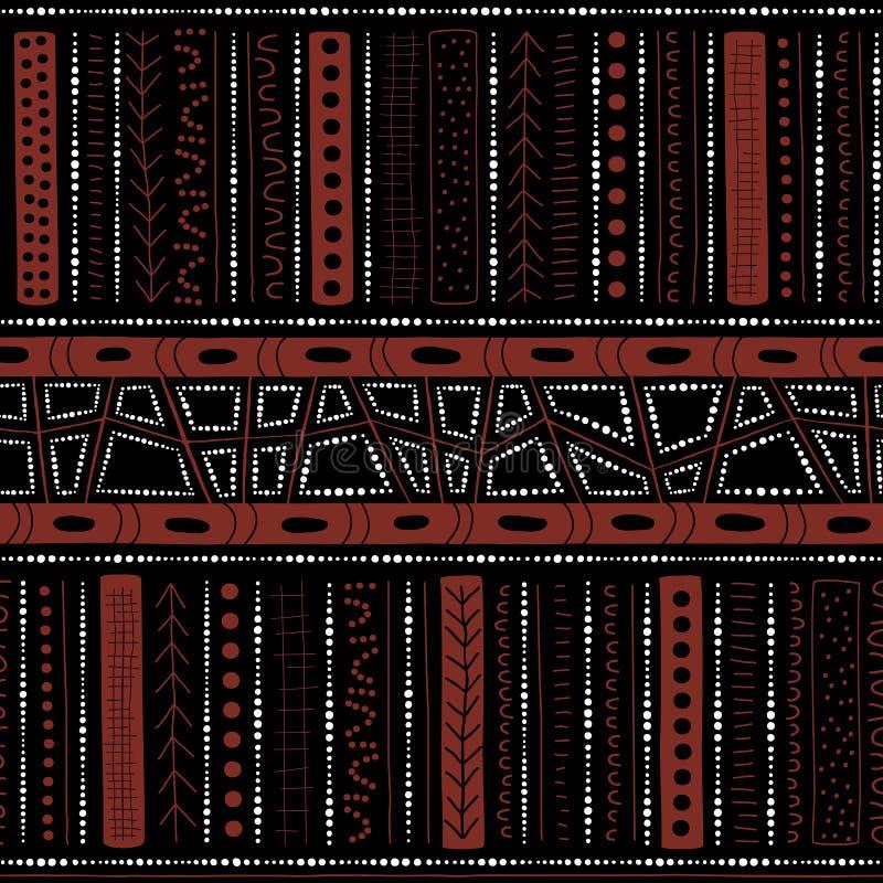 Vector el modelo aborigen inconsútil incluyendo motivo australiano étnico con los elementos típicos en fondo negro stock de ilustración