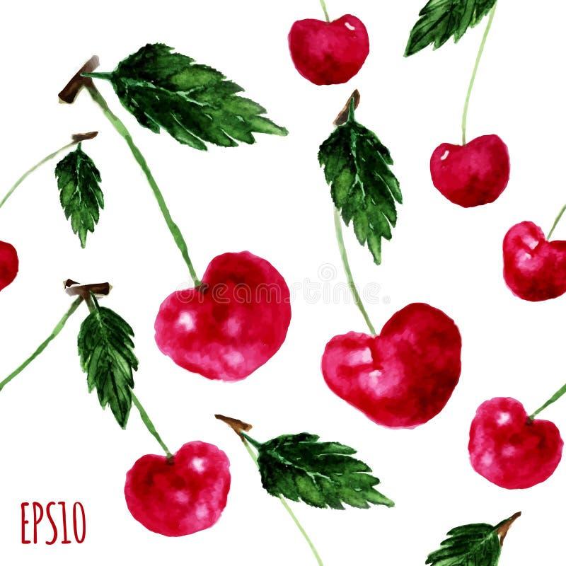 Vector el modelo brillante inconsútil de la cereza de la acuarela con las hojas EPS10 stock de ilustración