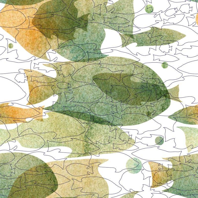 Vector el modelo con la imagen de la acuarela de siluetas de los pescados azul-grises, sombras ocres en un fondo blanco lazo púrp stock de ilustración