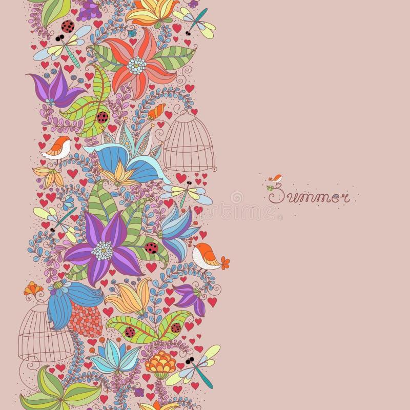 Vector el modelo con las flores, las plantas, los pájaros y los insectos Flores y plantas florales del primavera-verano del fondo stock de ilustración