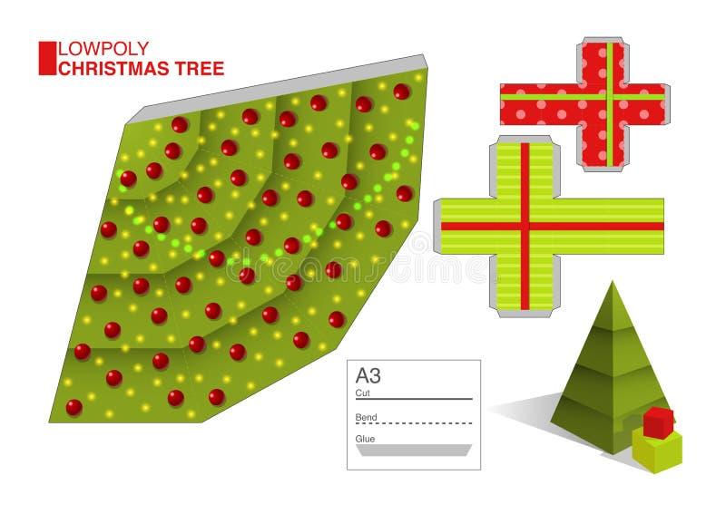Vector el modelo de DIY para un árbol de navidad y las cajas libre illustration