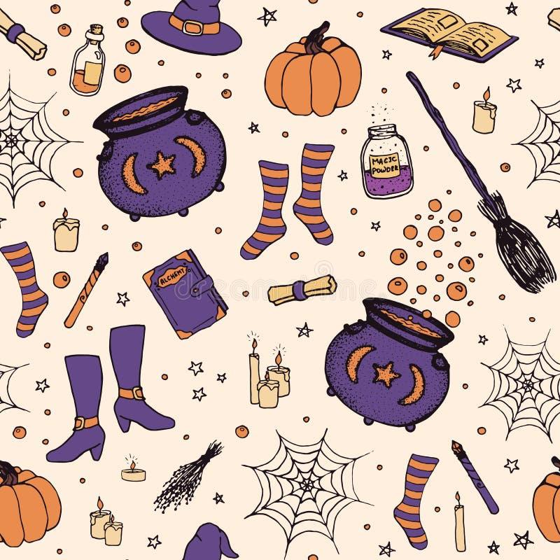 Vector el modelo de Halloween con la calabaza dibujada mano, caldera, spid ilustración del vector